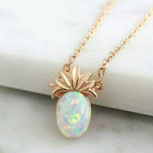 Jewelry - NWOT Tiny Rose Gold Opal Pineapple Necklace